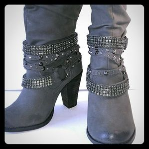 NOT RATED Gray Bling Studded Distressed Tall Boots